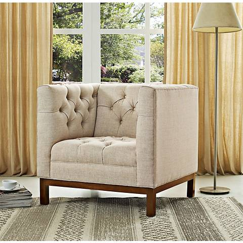 Panache Beige Fabric Tufted Armchair