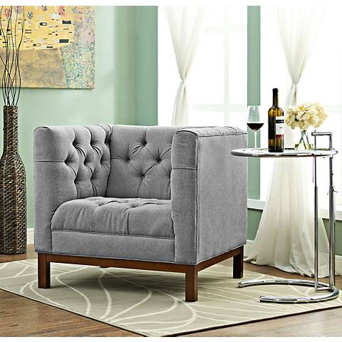 Panache Expectation Gray Fabric Tufted Armchair