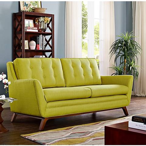Beguile Wheatgrass Fabric Tufted Loveseat