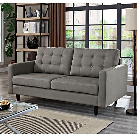 Empress Granite Fabric Tufted Loveseat