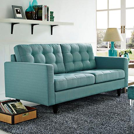 Empress Laguna Fabric Tufted Loveseat