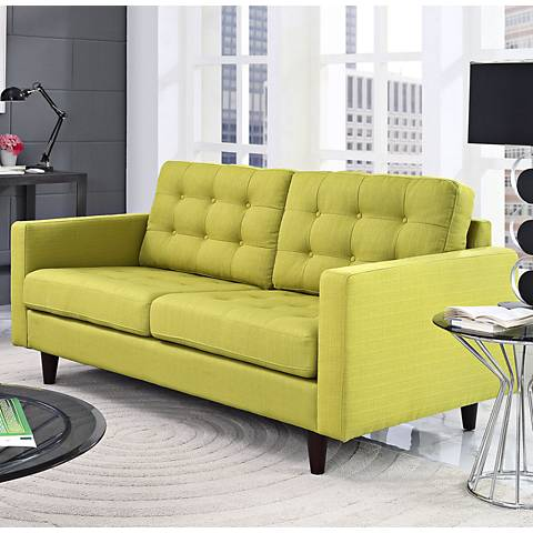 Empress Wheatgrass Fabric Tufted Loveseat