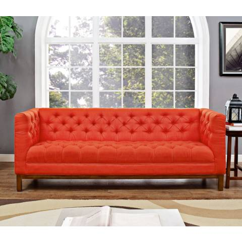 Panache atomic red 84 wide fabric tufted sofa 13j67 for Sofa 84 inch