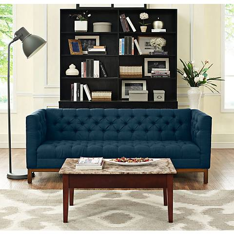 "Panache Azure 84"" Wide Fabric Tufted Sofa"