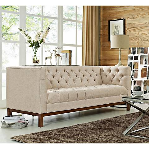 "Panache Beige 84"" Wide Fabric Tufted Sofa"