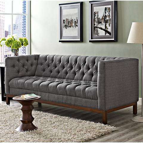 Panache gray 84 wide fabric tufted sofa 13j71 lamps plus for Sofa 84 inch