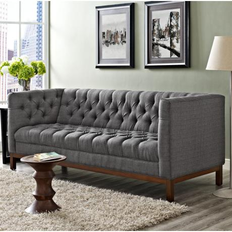 Panache gray 84 wide fabric tufted sofa 13j71 lamps plus for 84 inch sofa