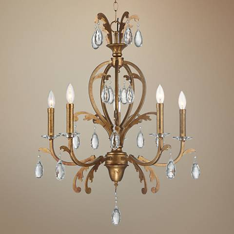 "Cendrillion 25 1/2"" Wide Splendid Gold 5-Light Chandelier"