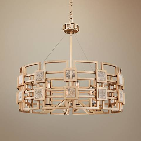 "Metropolis 28"" Wide Modern Gold Lattice-Cage Pendant Light"