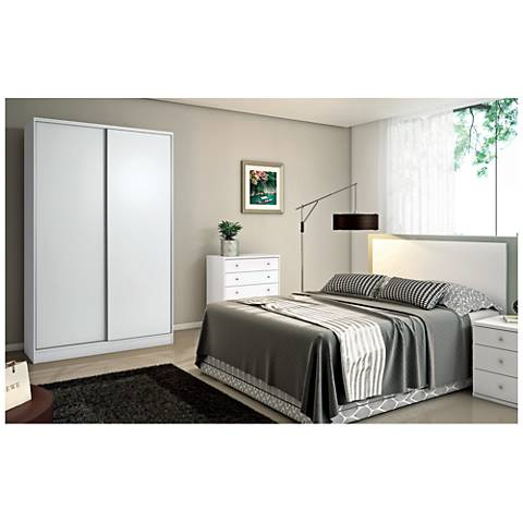 Chelsea 1.0 White Sliding-Door Double Basic Wardrobe Closet