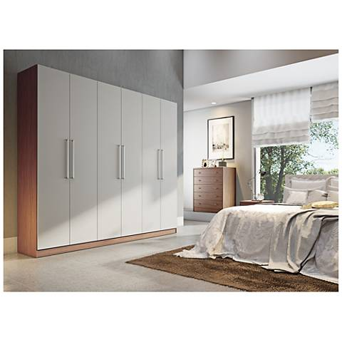 Eldridge 2.0 Off-White and Maple Cream Wood Wardrobe Closet