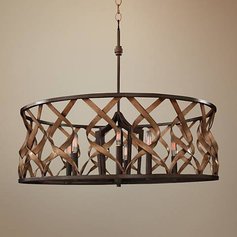"Soho 28"" Wide Milk Chocolate Iron Open-Drum Pendant Light"