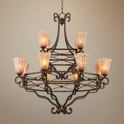 "Grimaldi 38 1/2""W Mediterranean Bronze 12-Light Chandelier"