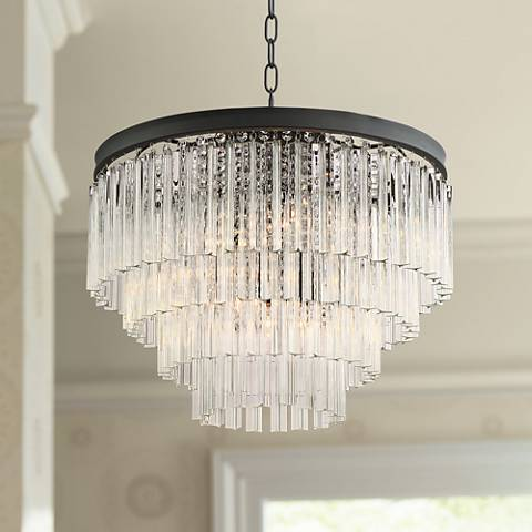"Possini Euro Cooper 20"" Wide Black 6-Light Chandelier"