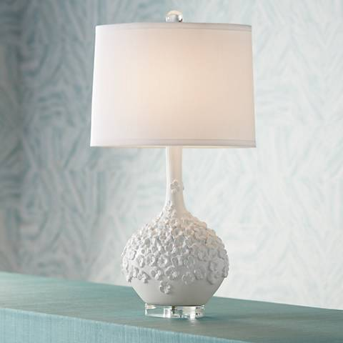 Possini Euro Alexis White Floral Table Lamp