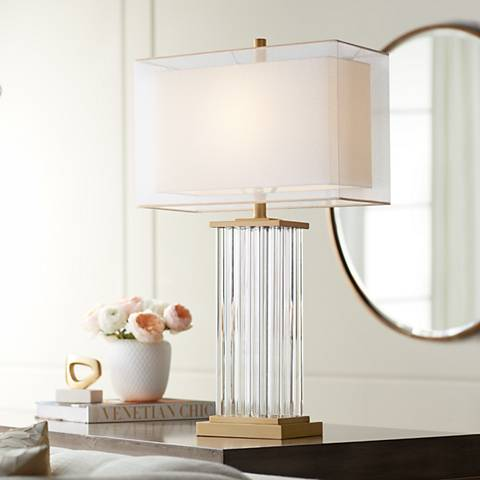 Vienna Full Spectrum Darcia Double Shade Crystal Table Lamp