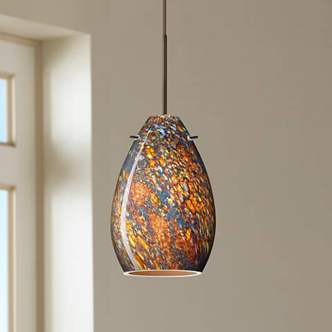 "Besa Pera 4 1/2"" Wide Bronze Ceylon Glass Mini Pendant"