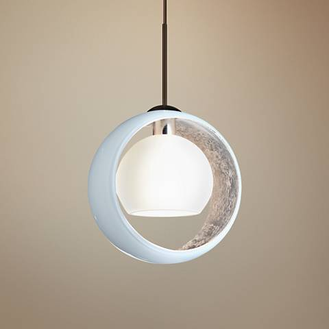 "Besa Pogo 6 1/4"" Wide Bronze White Glass Mini Pendant"
