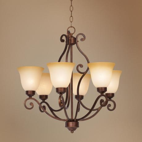 Bronze Finish Iron Six Light Chandelier