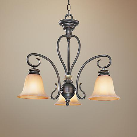 Scroll Arm Downlight  Black and Gold Small Chandelier