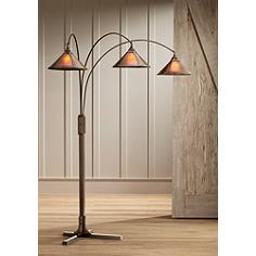 Mission Arc Mica Shade 3-Light Floor Lamp