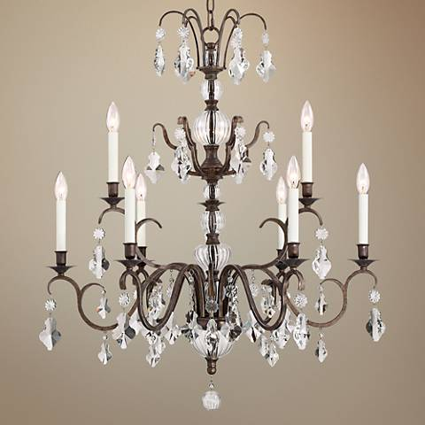 "Tacita 31"" Wide Bronze and Clear Crystal 9-Light Chandelier"