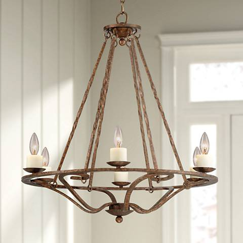 "Palmira 28"" Wide Bronze 6-Light Chandelier"