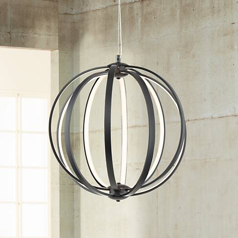 "Possini Euro Calimesa Black 18"" Wide LED Pendant Light"