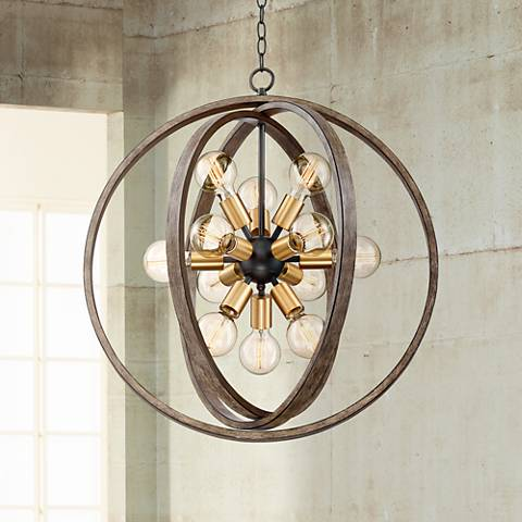 "Stedman 25"" Wide 12-Light Brass and Wood Grain Chandelier"