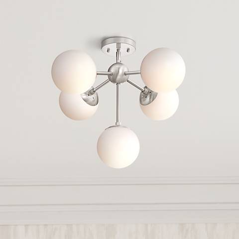 "Possini Euro Oso 22""W Opal Glass Nickel Ceiling Light"