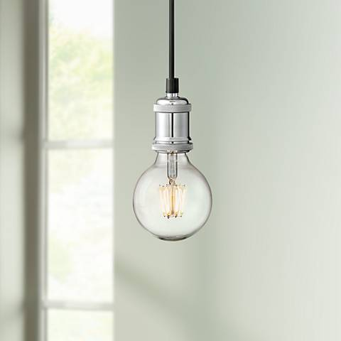 "Possini Euro Elian 4 3/4"" Wide Satin Nickel LED Mini Pendant"