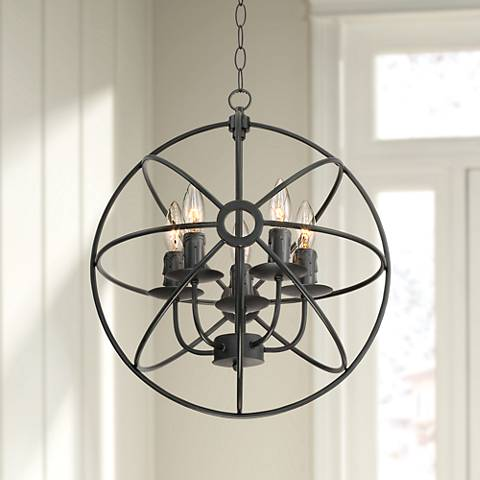 "Cronus 15 1/2"" Wide 5-Light Black Orb Chandelier"