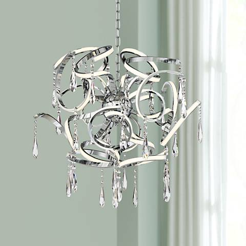 "Possini Euro Curlz 25"" Wide Chrome LED Pendant Light"
