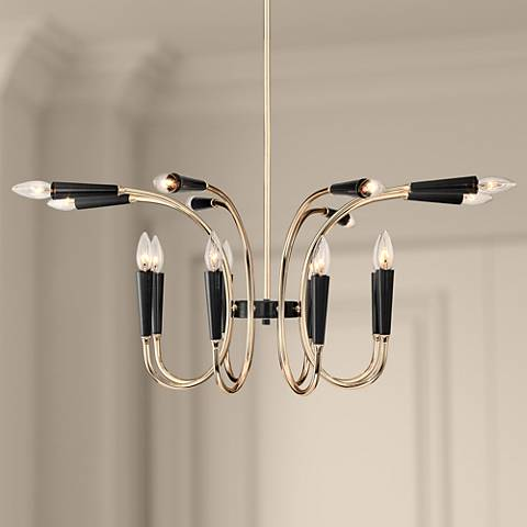 "Chris 31"" Wide French Gold and Black 16-Light Chandelier"