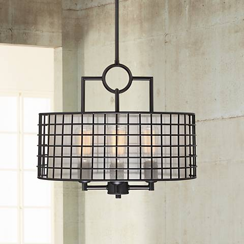 "Christoffer 18"" Wide Oil-Rubbed Bronze Cage Pendant"