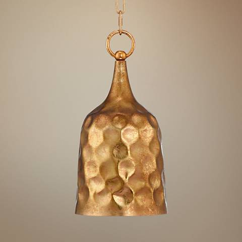 "Possini Euro Senoia Bell 8"" Wide Two-Gold Mini Pendant"