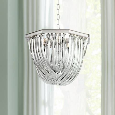 "Possini Euro Gaila 18""W Nickel and Clear Glass Pendant Light"