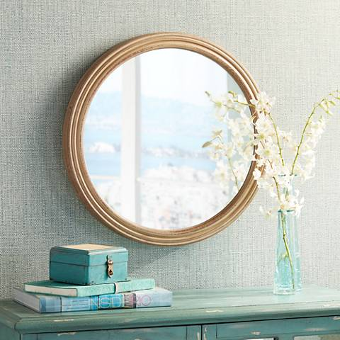 "Jenner Natural Wood 23 1/2"" Round Wall Mirror"