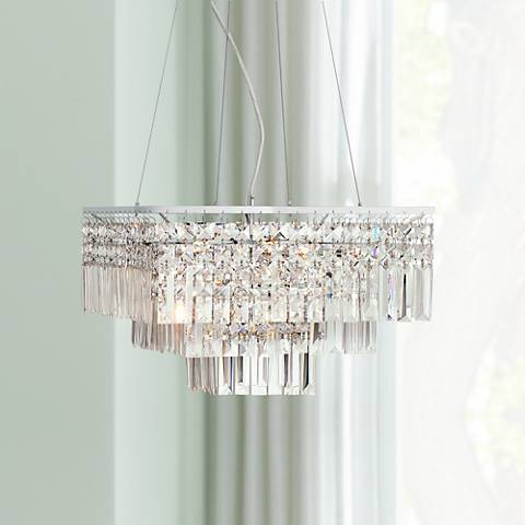 "Cailin 15 3/4"" Wide Chrome and Crystal Pendant Light"