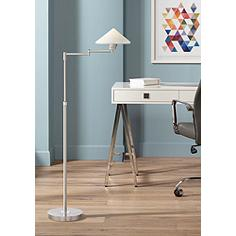 Sylas Brushed Steel Contemporary LED Floor Lamp