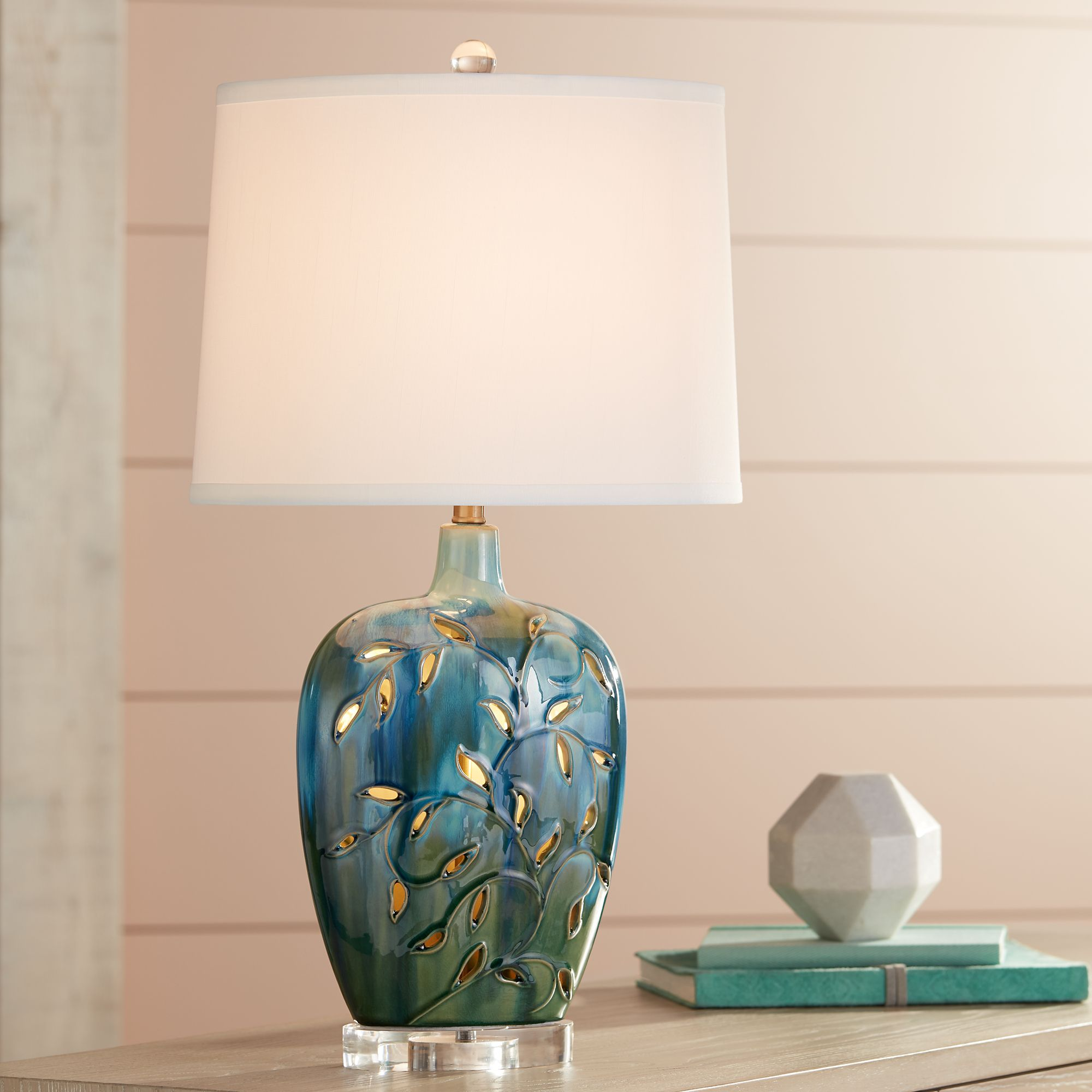 Devan Vines Blue Ceramic Table Lamp With Night Light