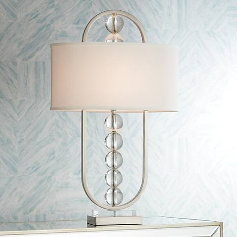 Possini Euro Wylson Crystal Globes Contemporary Table Lamp