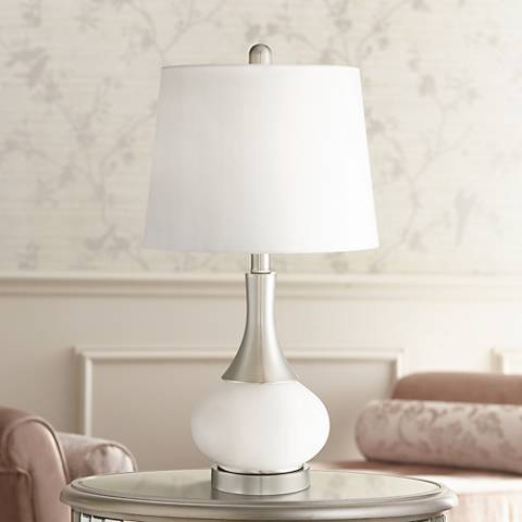 "Serrena 23"" High White Glass Night Light Table Lamp"