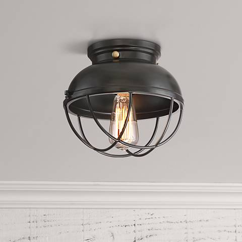 "Walton 10 1/2"" Wide Black Cage Ceiling Light"
