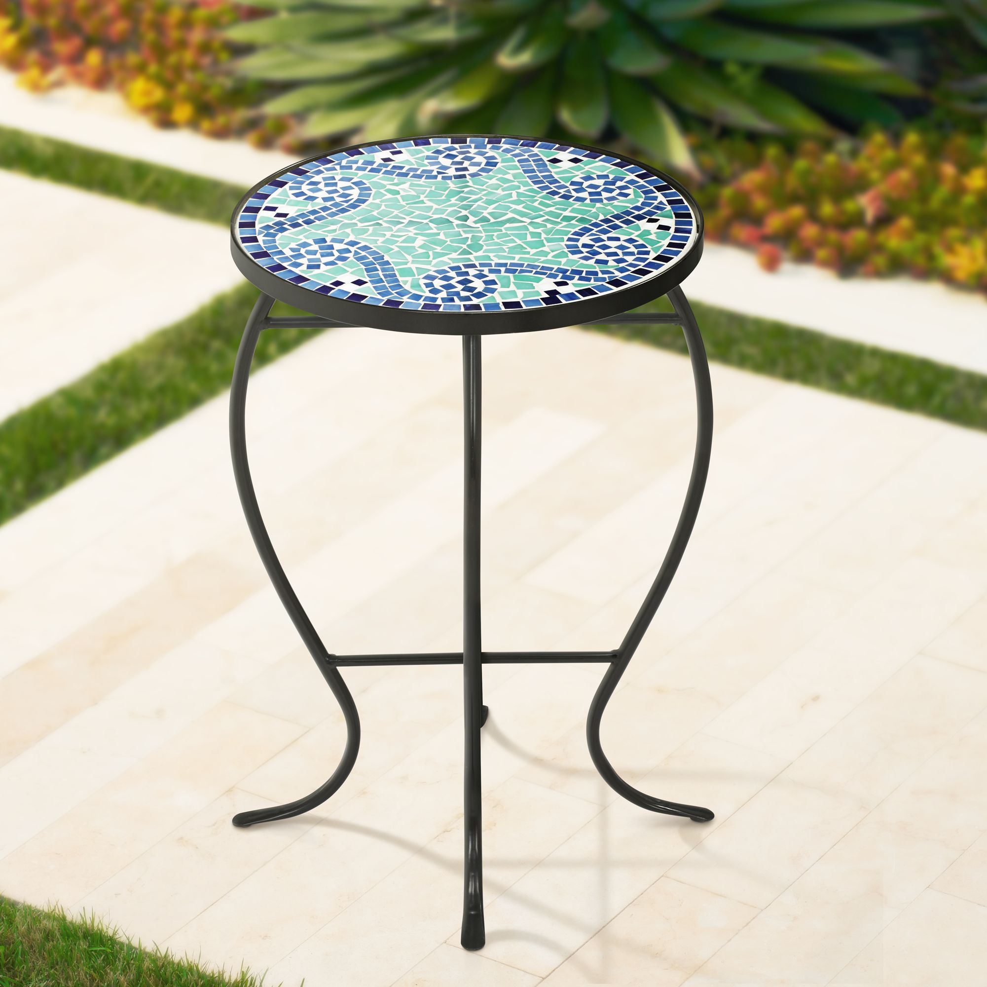 ocean wave mosaic black iron outdoor accent table - Outdoor Accent Tables