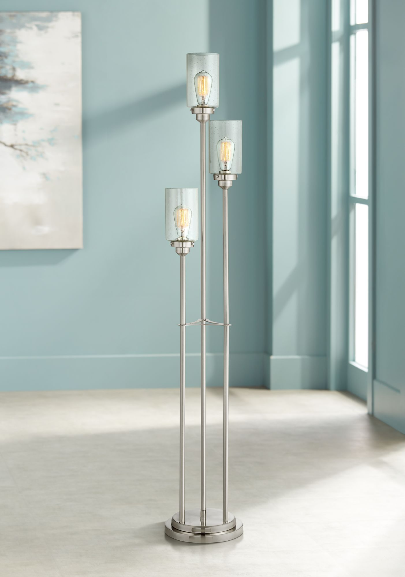 Libby Brushed Steel Contemporary Floor Lamp