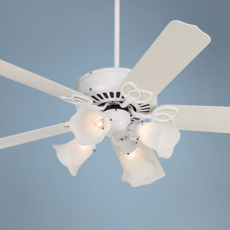 "52"" Lexington White Marbleized Scalloped 4-Light Ceiling Fan"