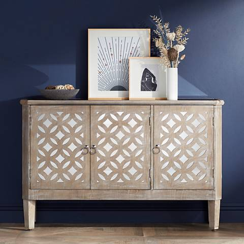 Charly Natural Whitewash 3-Door Lattice Accent Cabinet