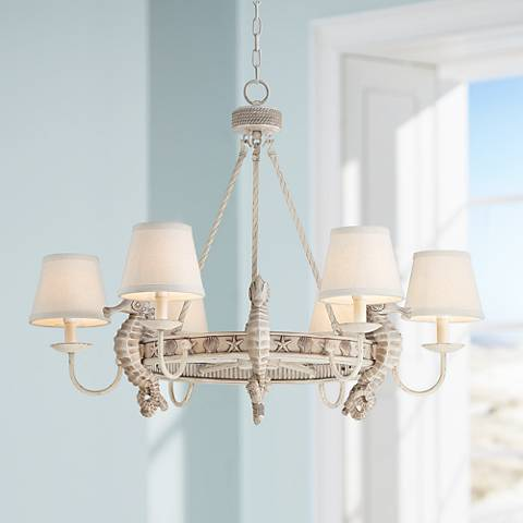 "Seahorse 34"" Wide Antique Cottage 6-Light Chandelier"