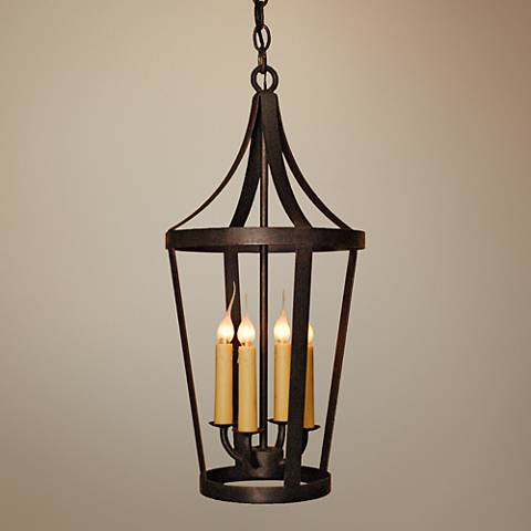 "Laura Lee Boston 12"" Wide Wax Rust 4-Light Mini Pendant"